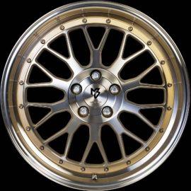 MB Design LV1 shiny gold polished Wheel 7x17 - 17 inch 4x108 bolt circle - 6173