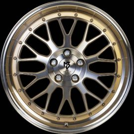 MB Design LV1 shiny gold polished Wheel 7x17 - 17 inch 4x98 bolt circle - 6185